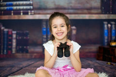 Sweet child, girl, playing with a binoculars stock images