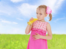 Sweet child having fun outdoor Royalty Free Stock Images