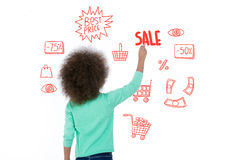 Sweet child showing sale data Royalty Free Stock Photo