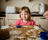 Sweet childhood - baking cookies Royalty Free Stock Photo