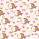 Sweet childish seamless pattern with fish and corals. ?artoon seamless pattern for lovely childish designs in Stock Images