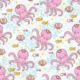 Sweet childish seamless pattern with octopuses. Royalty Free Stock Images