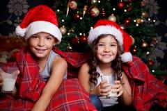 Sweet Children Drinking A Glass Of Milk Stock Photo