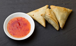Sweet chilli n samosa Stock Image