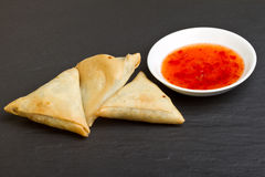 Sweet chilli n samosa Royalty Free Stock Photo