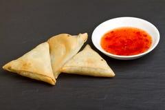 Sweet chilli n samosa Royalty Free Stock Photo