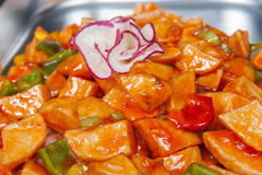 Sweet chilli potatoes at a chinese buffet Stock Photo