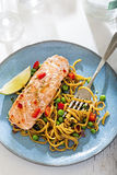 Sweet chilli salmon with pasta salad Stock Image
