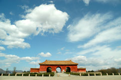Sweet China. This gate is close to Beijing. This building is one entrance of the Ming Tombs. The blue sky is very rare there Royalty Free Stock Photos