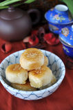 Sweet Chinese Pastry. With tea set on background Royalty Free Stock Images
