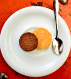 Sweet chip cookies on a plate Royalty Free Stock Images
