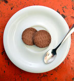 Sweet chip cookies on a plate Stock Photography