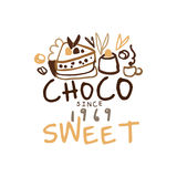 Sweet choco label since 1969, hand drawn vector Illustration, logo template. For branding identity restaurant, cafe, confectionery colorful Royalty Free Stock Photography