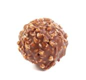 Sweet chocolate ball filled with hazelnuts. Stock Photography