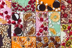 Free Sweet Chocolate Bars With Berries, Nuts, Fruits Stock Photo - 180675600