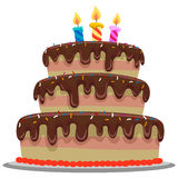 Sweet Chocolate Birthday Cake Stock Image