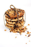 Sweet chocolate biscuit with nuts tie up Stock Images
