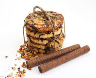 Sweet chocolate biscuit tie up and wafer rolls stock photo