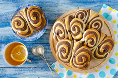 Sweet chocolate buns Butterfly on the table Stock Image