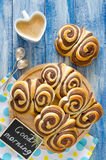 Sweet chocolate buns Butterfly on the table Stock Photography