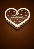 Sweet chocolate cake as heart with love Stock Images