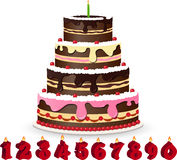 Sweet chocolate cake for birthday Royalty Free Stock Photography