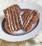 Sweet chocolate cake. With cream on a plate Royalty Free Stock Image