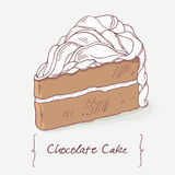 Sweet chocolate cake doodle isolated in vector Royalty Free Stock Photo