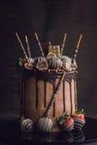 Sweet chocolate cake Royalty Free Stock Photos