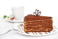 Sweet chocolate cake on table Stock Photography