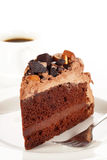 Sweet chocolate cake topping almond nut with coffee Stock Photography
