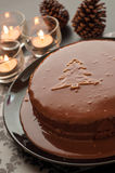 Sweet chocolate cakes setting for Christmas in dar Stock Photography