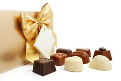 Sweet chocolate candies with box isolated Stock Images