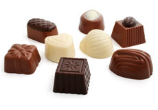 Sweet chocolate candies group isolated Royalty Free Stock Photography