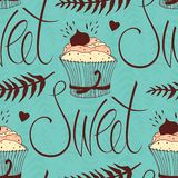 Sweet chocolate cupcake background Royalty Free Stock Image
