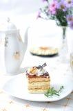 Sweet chocolate dessert with tea Royalty Free Stock Image