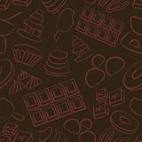 Sweet chocolate doodle sketch icons seamless pattern Royalty Free Stock Photo