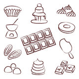 Sweet chocolate doodle sketch icons set Stock Photo