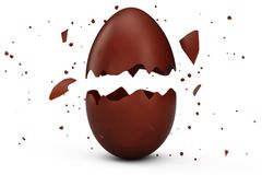 Sweet, chocolate Easter egg cracked into many pieces isolated on a white background. Chocolate Easter egg, holiday royalty free illustration