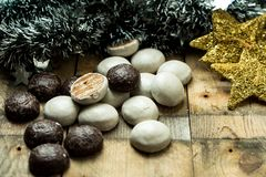 Sweet, chocolate gingerbreads on wooden background royalty free stock photo