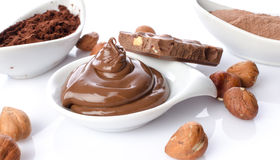 Sweet chocolate hazelnut spread with cocoa powder Stock Image