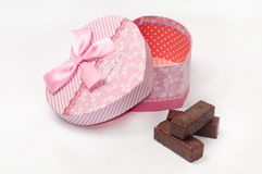 SWEET CHOCOLATE HEART BOX SHAPE BIRTHDAY Royalty Free Stock Image