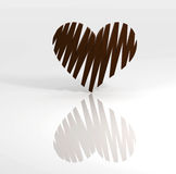 Sweet chocolate heart on white background Royalty Free Stock Photo