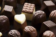 Sweet chocolate pralines. An assortment of sweet chocolate pralines Stock Image