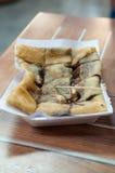 Sweet chocolate roti filled with banana Stock Photos