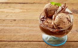 Sweet chocolate sundae with mint leaf Stock Images