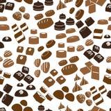 Sweet chocolate truffles icons seamless brown pattern eps10 Stock Photo
