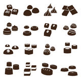 Sweet chocolate truffles styles icons set eps10 Stock Photography
