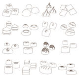 Sweet chocolate truffles styles outline icons set eps10 Royalty Free Stock Image