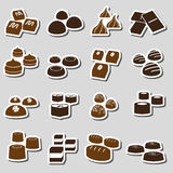 Sweet chocolate truffles styles stickers set eps10 Royalty Free Stock Images